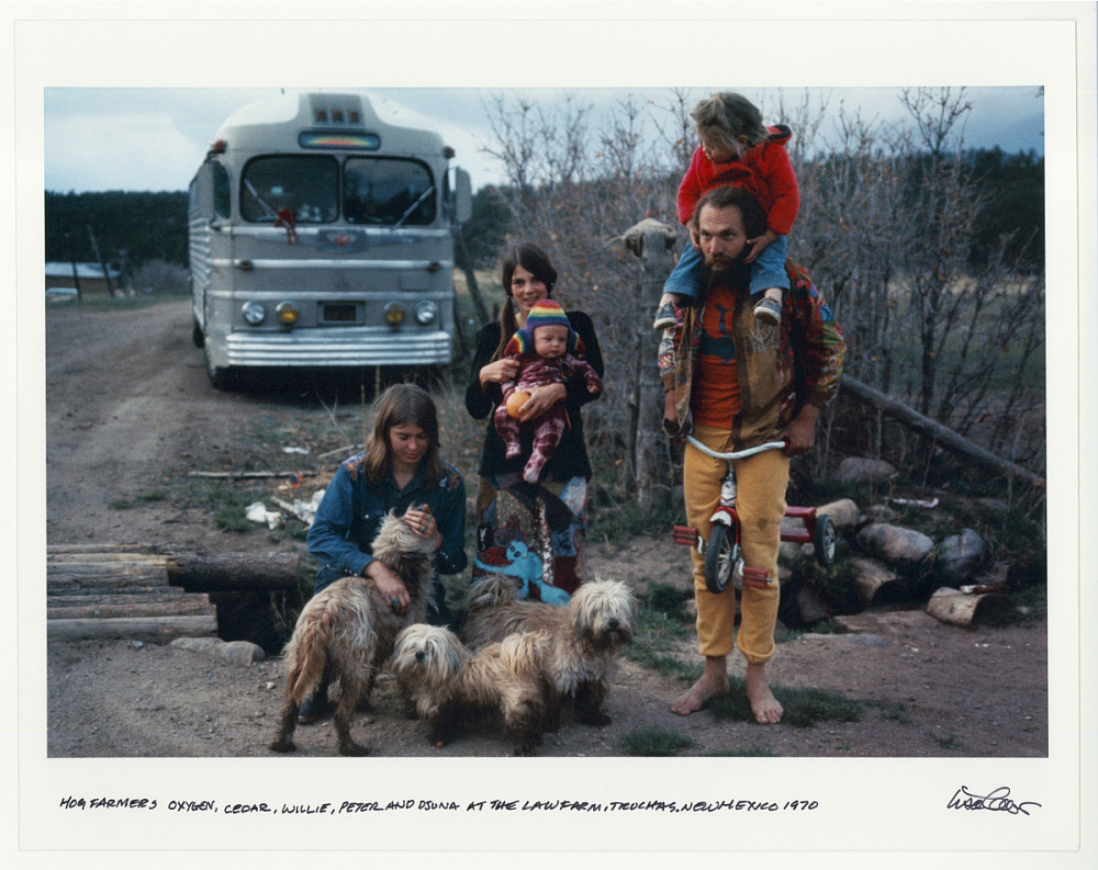Hog Farmers: Oxygen, Cedar, Willie, Peter, and Djuna at the law farm. Truchas, New Mexico. 1970
