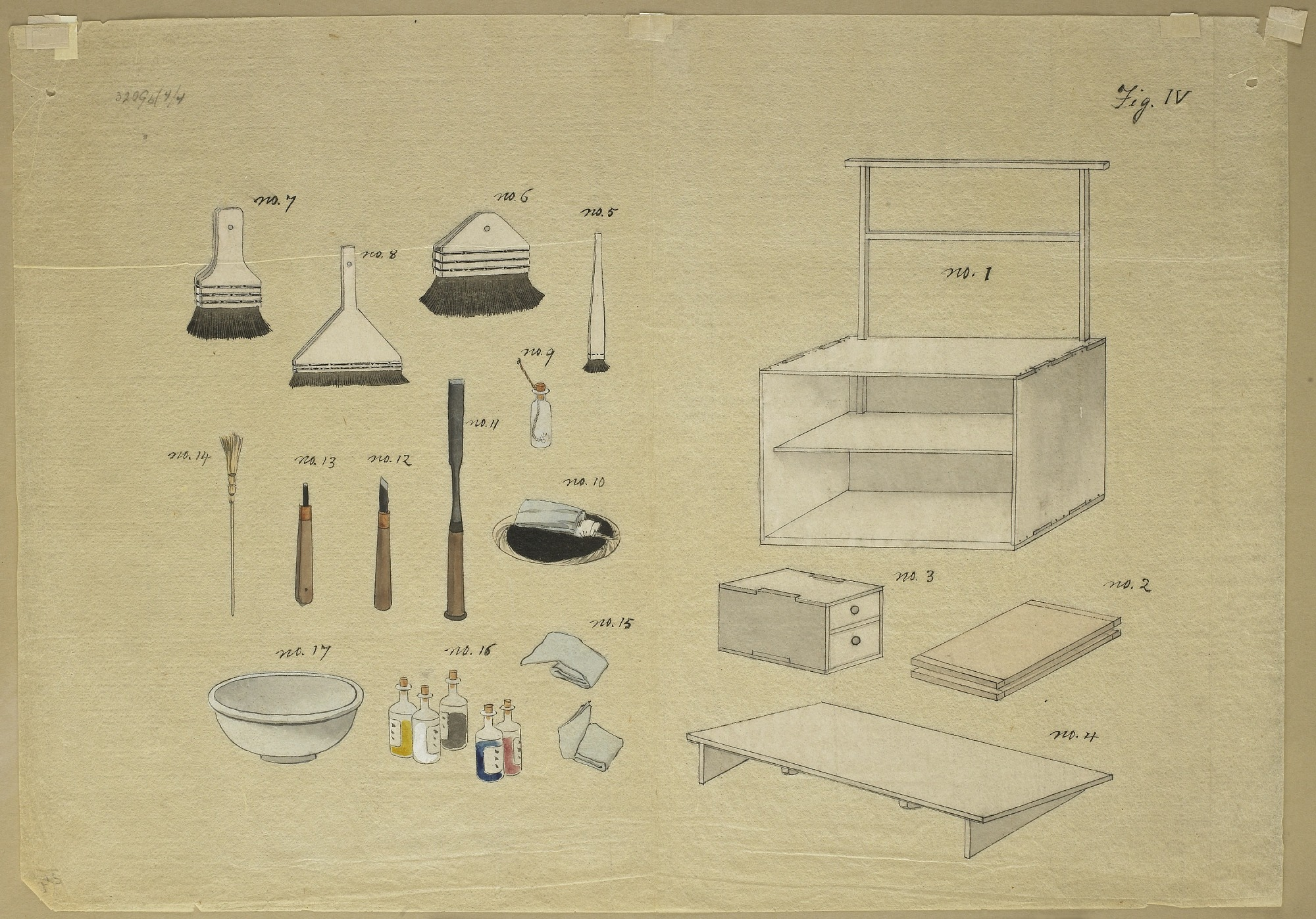 Drawing of block printer's tools