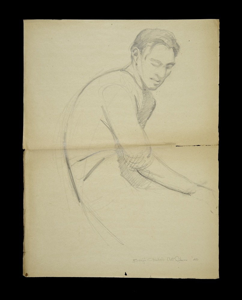 Drawing pencil sketch of a male figure sitting from benji okubos art class 1943