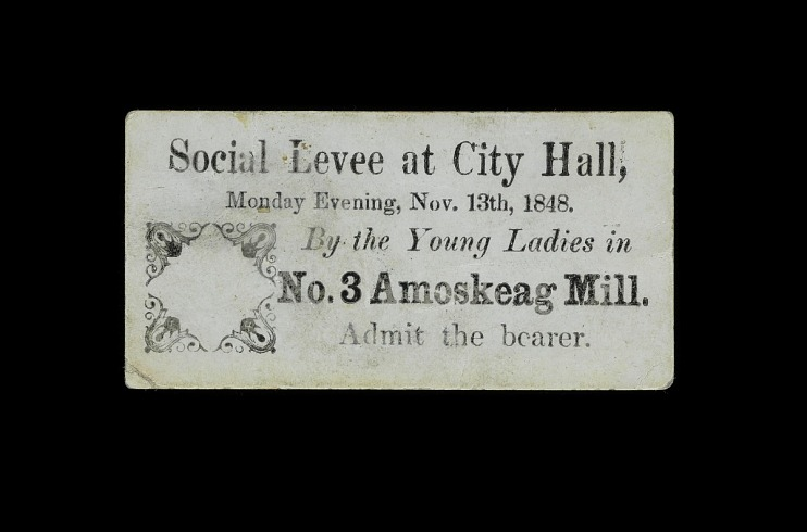 Ticket for Social Levee at City Hall, No. 3 Amoskeag Mill, 1848