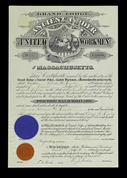 Ancient Order of United Workmen Death Benefit Certificate