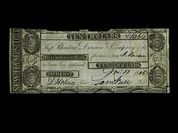 10 Dollar Hillsborough Bank Note, 1806