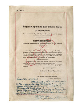Certified copy of the congressional joint resolution for the 19th Amendment, June 1919
