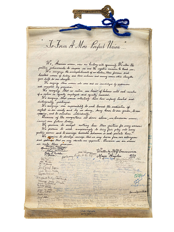 Proclamation scroll with declaration written by Maya Angelou, 1977