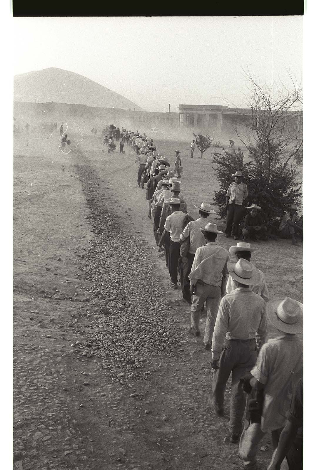 Braceros walk in line in a sandstorm at the Monterrey Processing Center, Mexico.