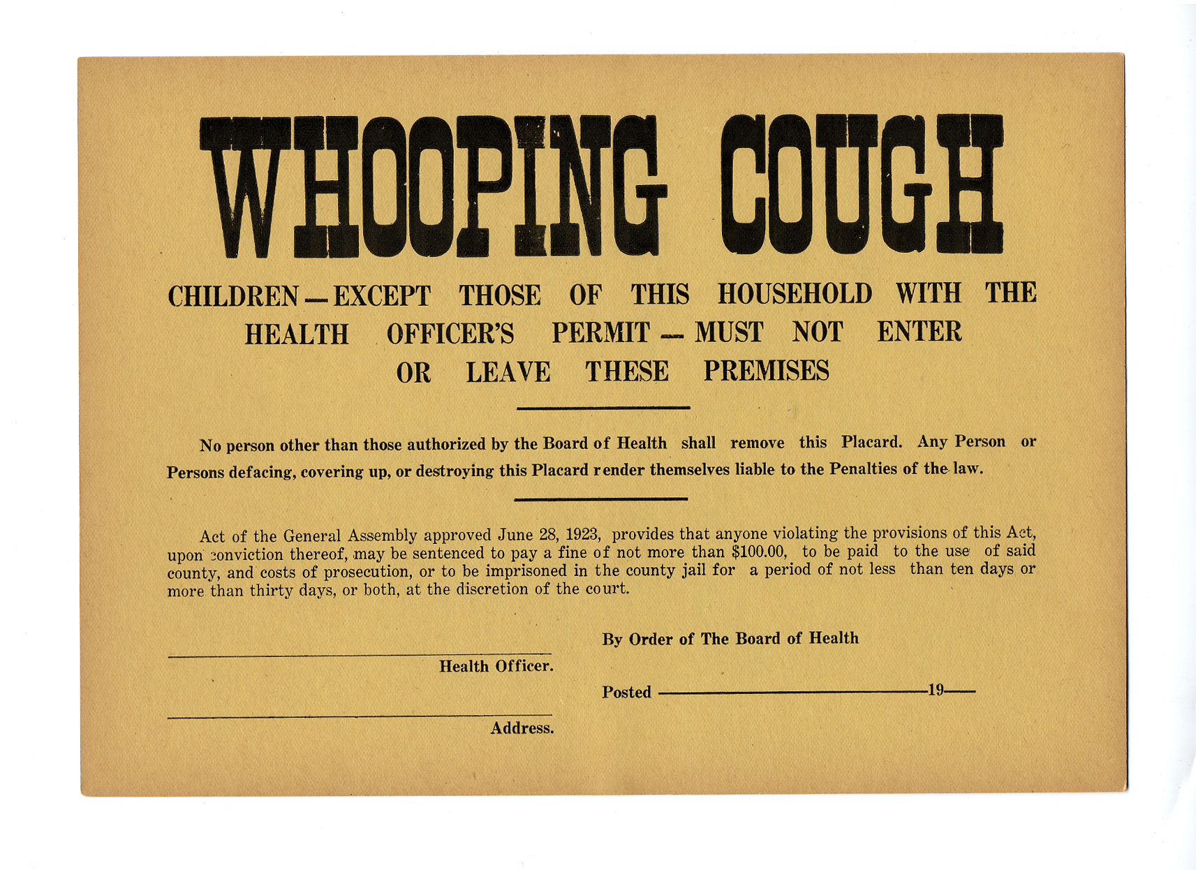 Whooping Cough Quarantine Sign, Pennsylvania, ca after-1923.