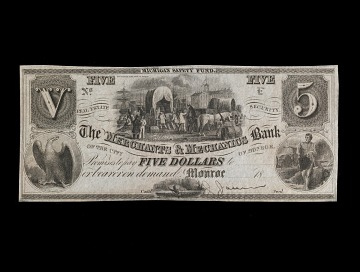 5 Dollar Merchants and Mechanics Bank Note, 1837
