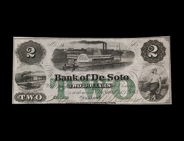 2 Dollar Bank of DeSoto Note, 1857
