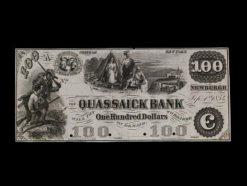 100 Dollar Quassaick Bank Proof Note, 1854