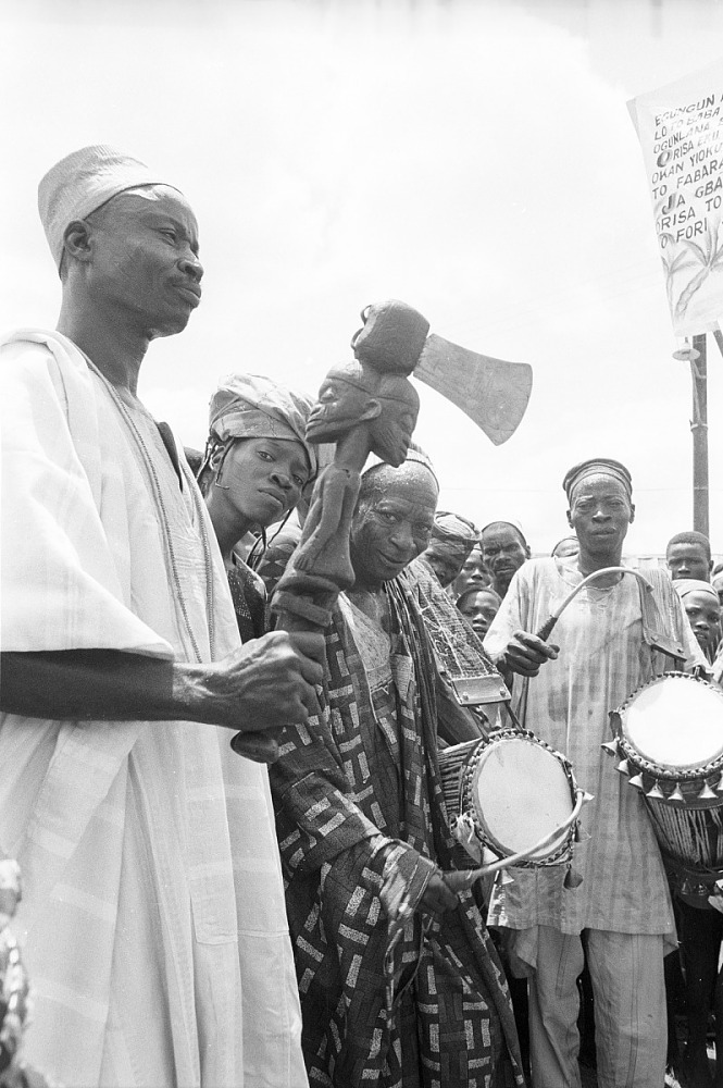 Representatives of cult groups and musicians attenting a community festival, Ede, Nigeria, [negative]