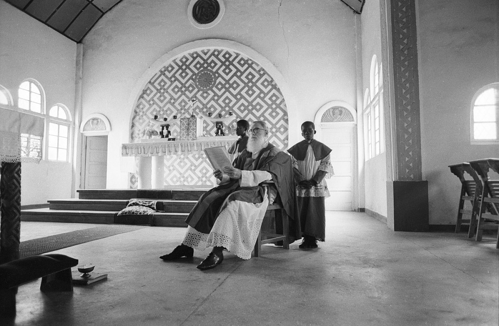 Interior of Mission church, Mushenge, Congo (Democratic Republic), negative