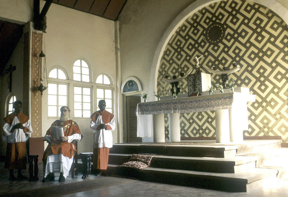 Interior of Mission church, Mushenge, Congo (Democratic Republic), slide