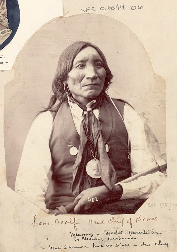 Portrait of Chief Guipago (Lone Wolf) with Pipe-Tomahawk And Peace Medal Presented to Him by President Buchannan 1872