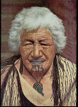 Painting by C. Frederick Goldie of Chietainess Kapi Kapi, 103 Years Old, of Arawa Tribe, in Flax-Fiber Dress and with Chin And Nose Tattoos, Nephrite Hei-Tiki (Amulet), and Earrings n.d