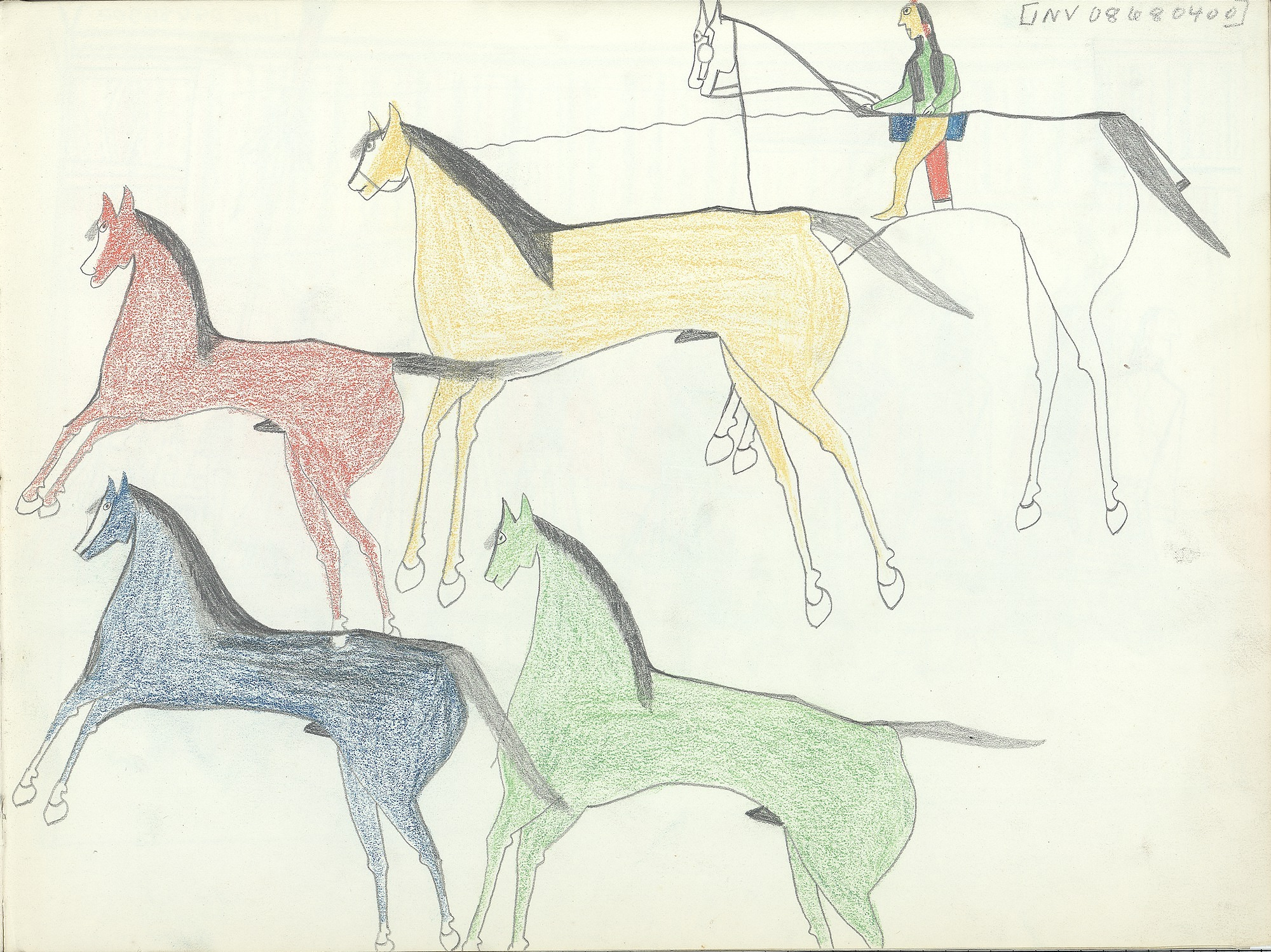 Anonymous Kiowa drawing of mounted man roping one of four horses, ca. 1875-1877