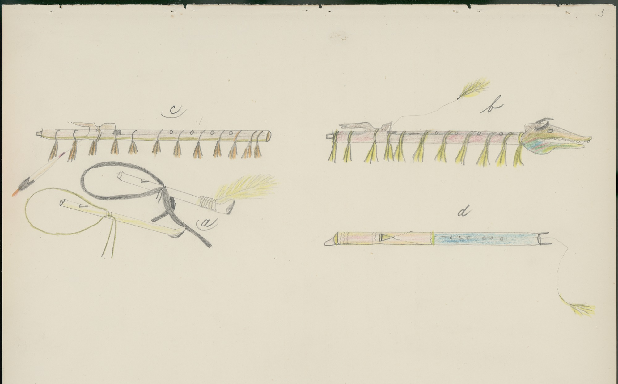 Daniel Little Chief drawing of Cheyenne musical instruments, with descriptive text by Albert Gatschet, 1891 February