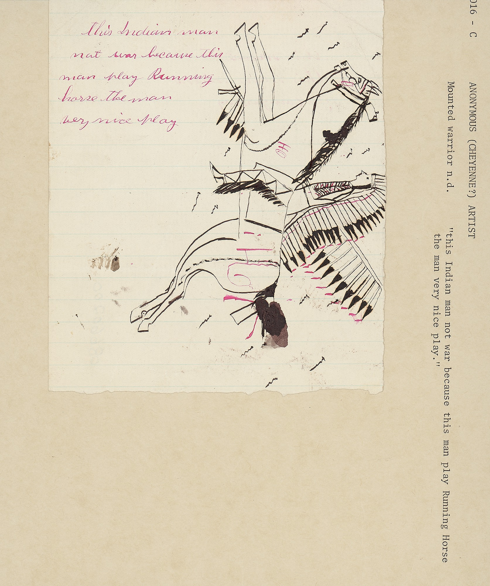 Anonymous drawing, possibly Cheyenne, of mounted warrior, n.d