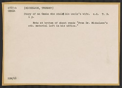 Story collected by Truman Michelson of an Omaha who stole his uncle's wife, undated