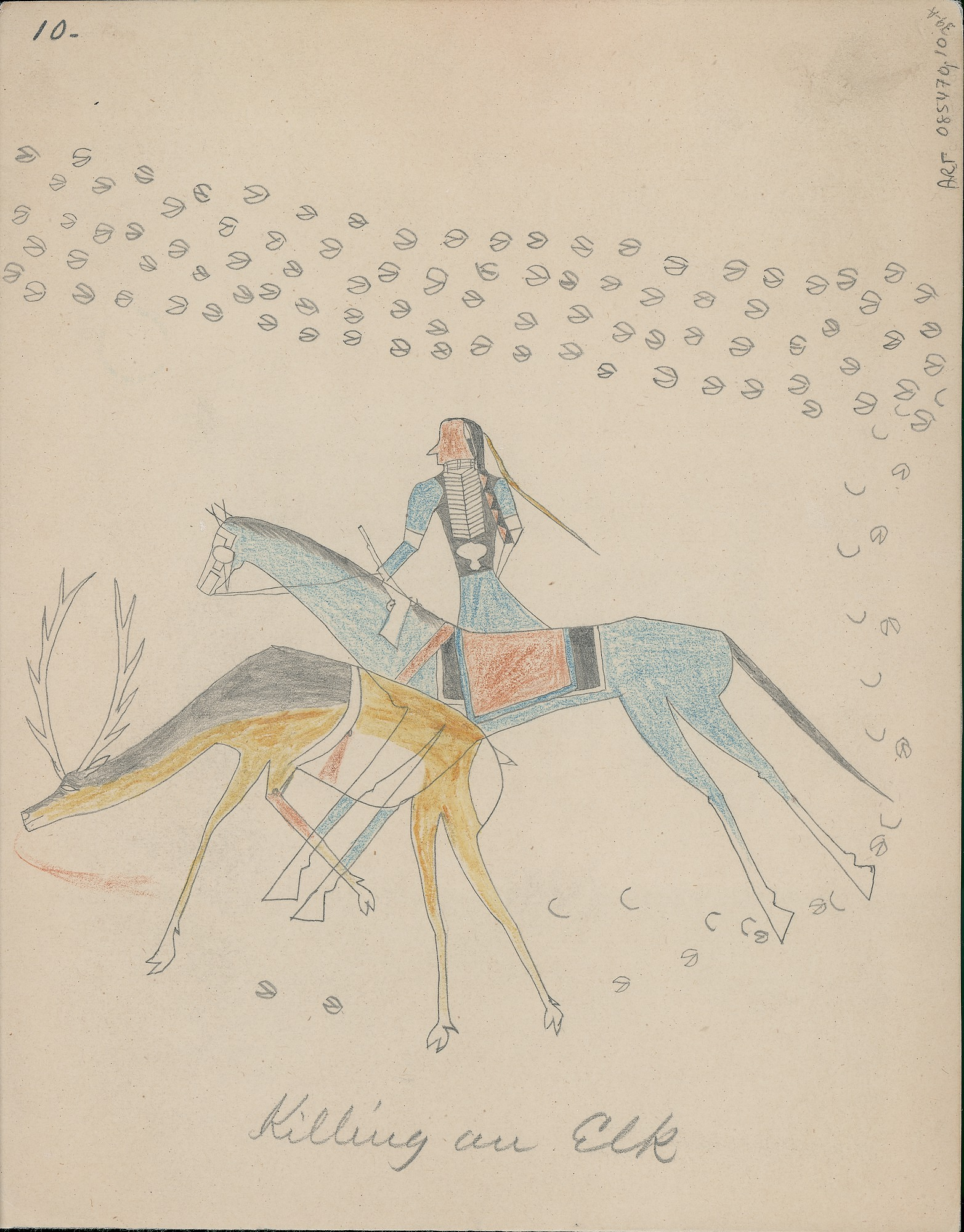 Anonymous Cheyenne drawing of mounted hunter pursuing wounded elk, 1875 August
