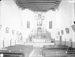 Interior View of Church Showing Altar and Pews 1899