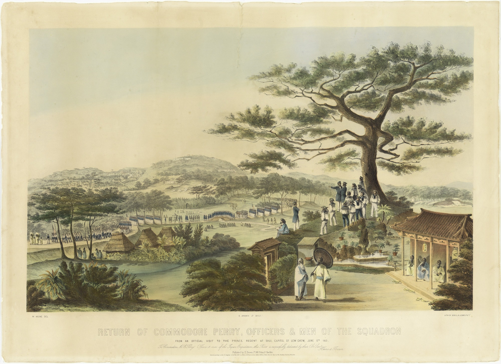 Return of Commodore Perry, Officers and Men of the Squadron from an Official Visit to the Prince Regent at Shui, Capitol of Lew Chew, June 6th 1853