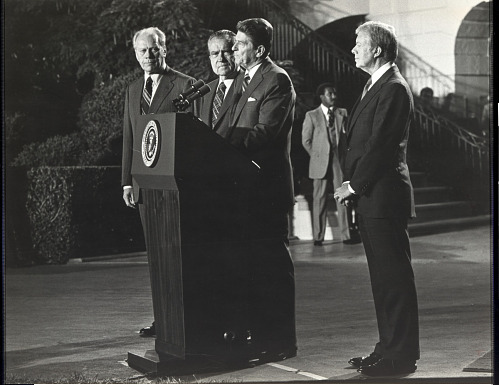 Gerald Ford, Richard Nixon, Ronald Reagan and Jimmy Carter