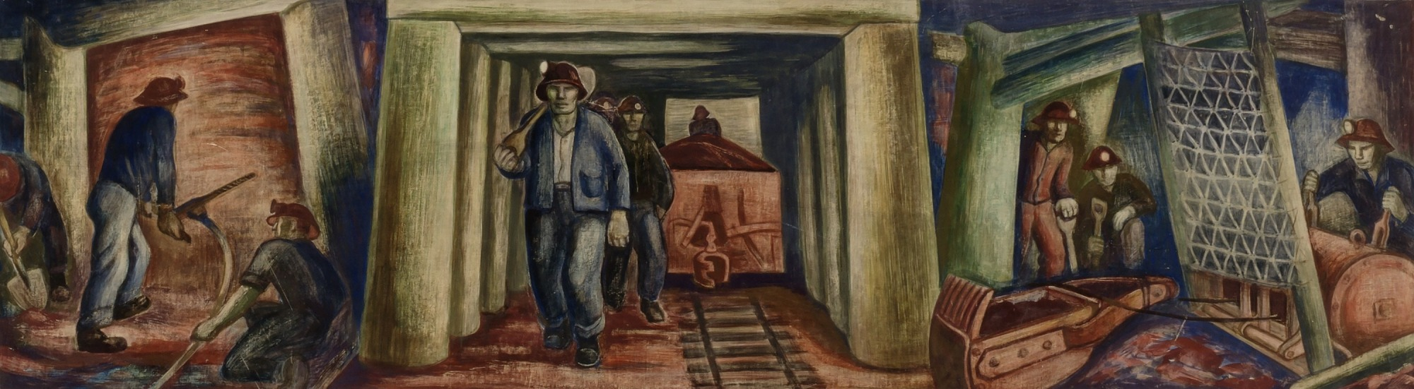 Iron Ore Mines (Ely, study for mural)