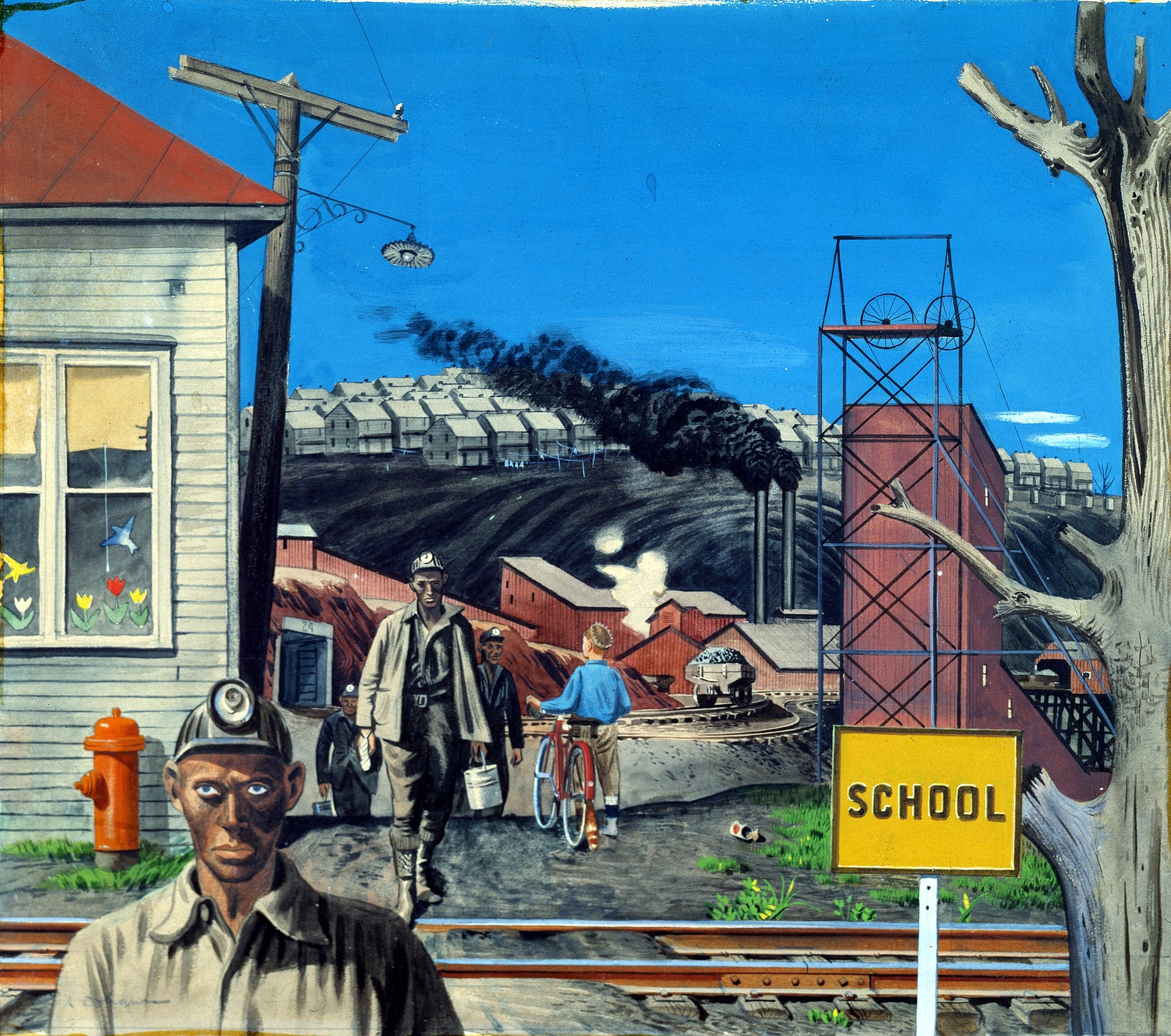 Mining Village (Study for mural, Huntington, West Virginia forestry service building)