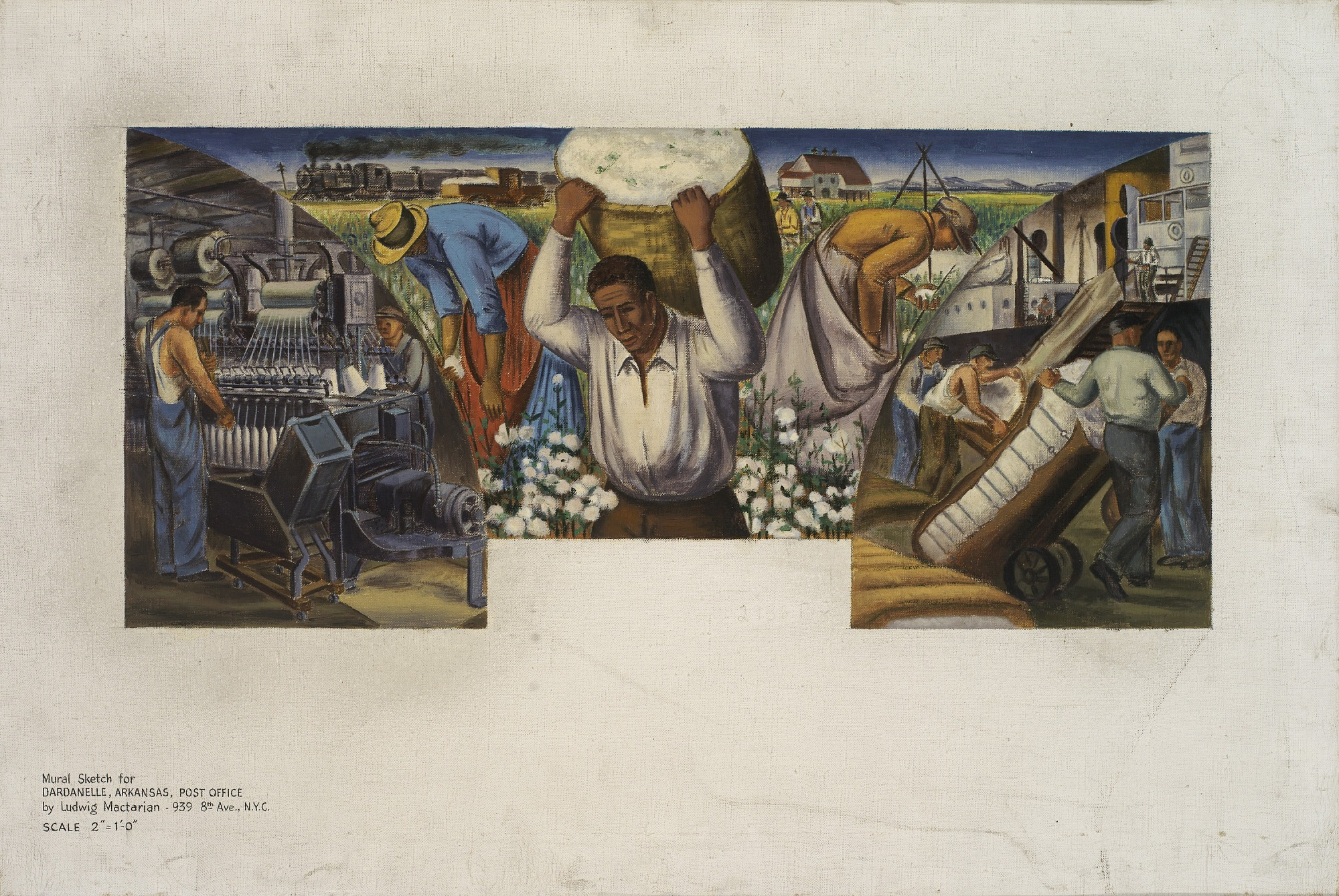 Cotton Growing, Manufacture and Export (mural study, Dardanelle, Arkansas Post Office)