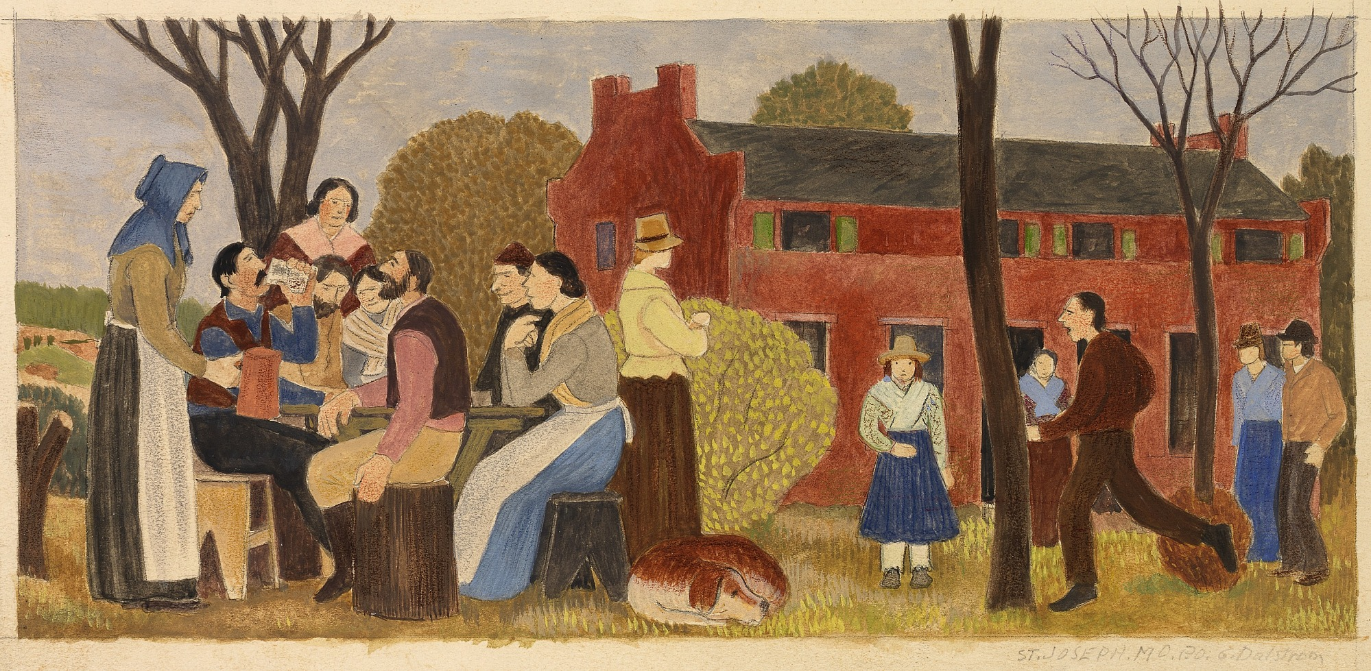 (Untitled) (mural study, St. Joseph, Missouri Post Office and Courthouse)