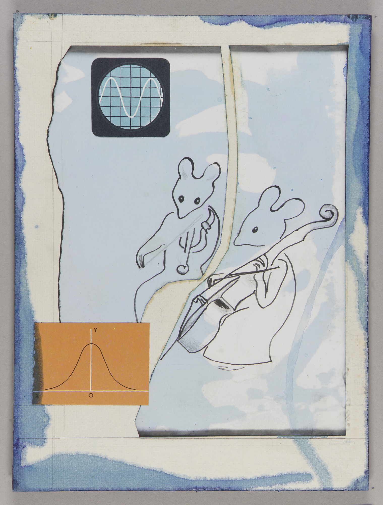 The Musicians (mouse musicians, mounted on masonite)
