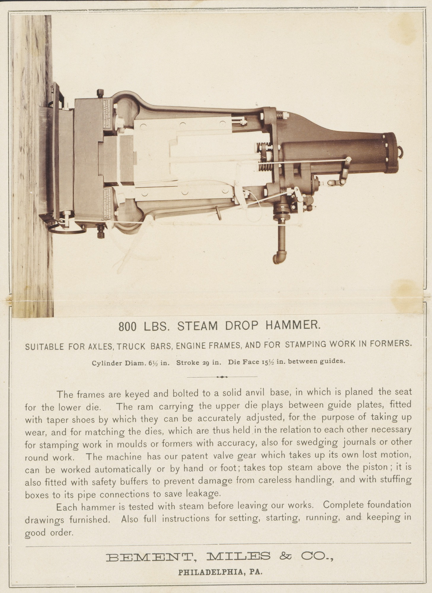 [Steam Drop Hammer, Bement, Miles and Company, Philadelphia]