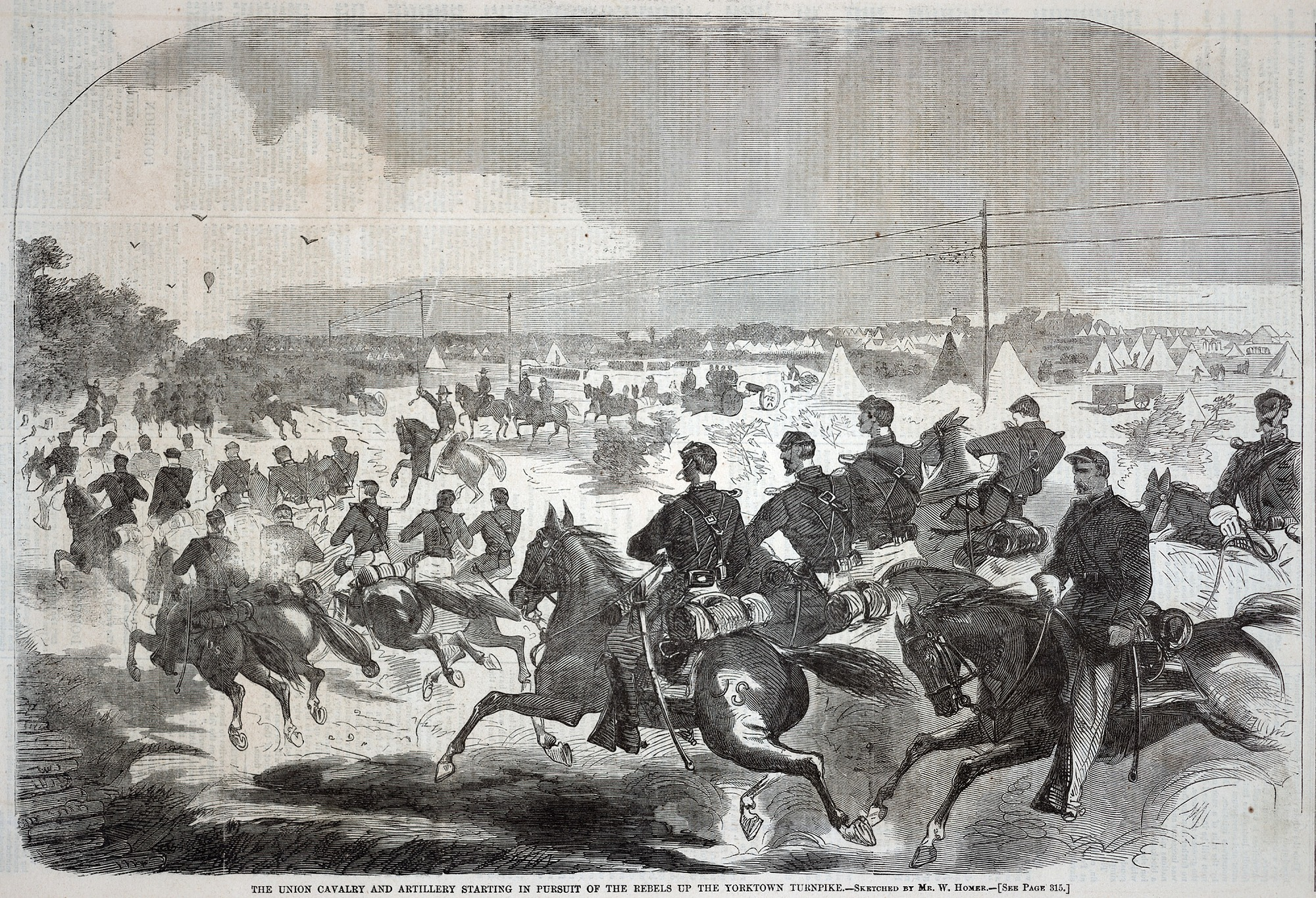 The Union Cavalry and Artillery Starting in Pursuit of the Rebels up the Yorktown Turnpike, from Harper