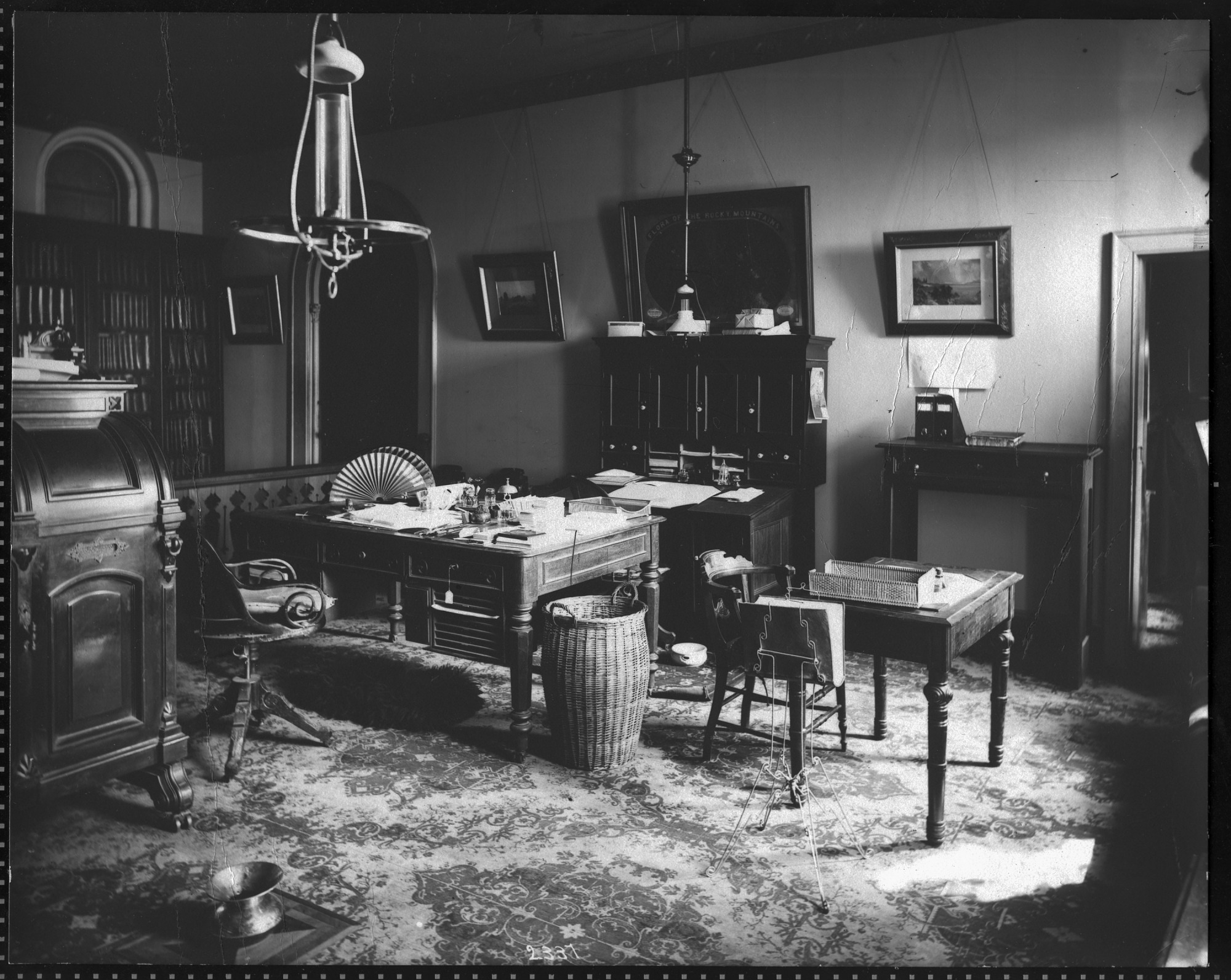 Image shows Spencer Fullerton Baird's office and desk, by Thomas Smillie, 1878. Smithsonian Institution Archives, negative number 2002-10672.