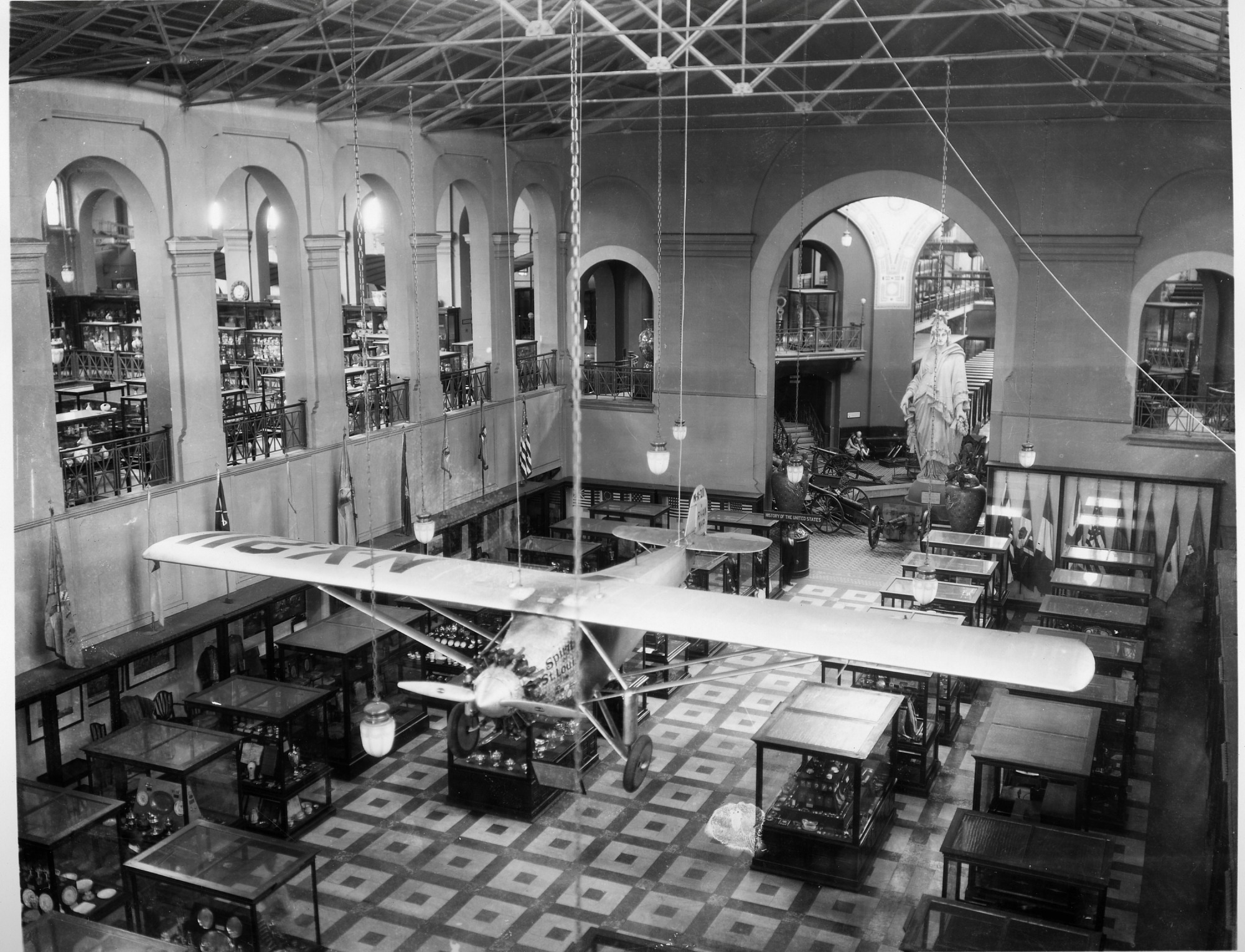 Spirit of St. Louis in the United States National Museum, by Unknown, 1930s, Smithsonian Archives - History Div, 2002-12192.