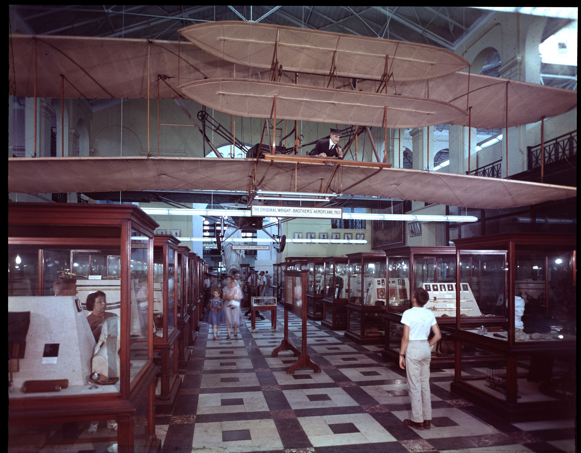 Wright Flyer in A&I, by Unknown, 1950s, Smithsonian Archives - History Div, 2003-19574.