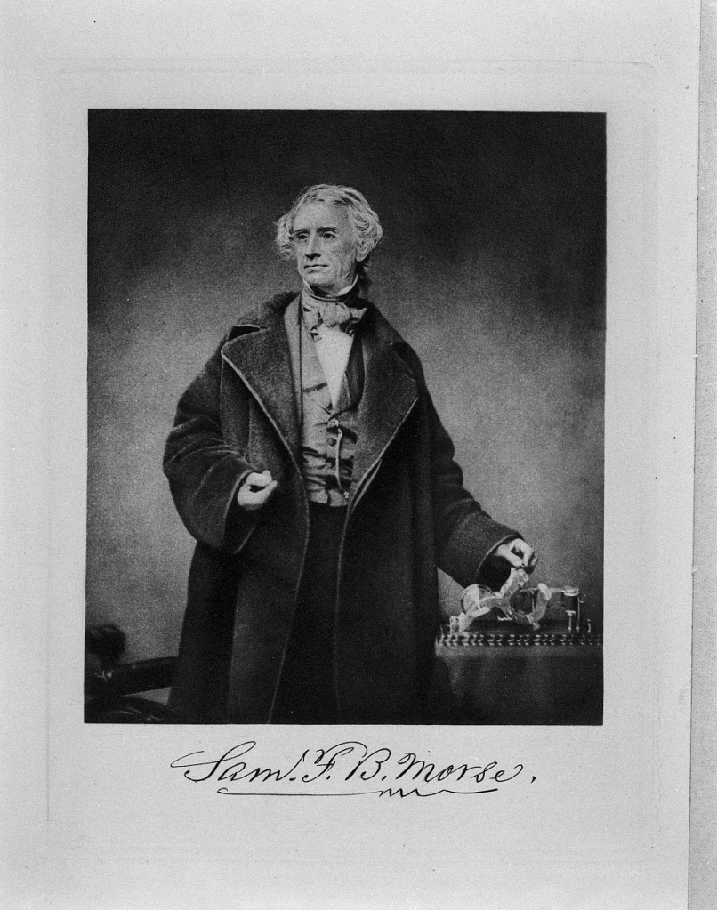Portrait of Morse is a black-and-white photo print, contained in the Western Union Telegraph Company Records, ca. 1820-1995, Archives Center, National Museum of American History, digital scan number AC0205-01020534.tif.