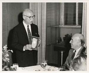 Image of Bern Dibner Presented with Coin Set