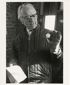 Image of Edward F. Rivinus, Acting Director of SI Press, with Barn Owl Egg