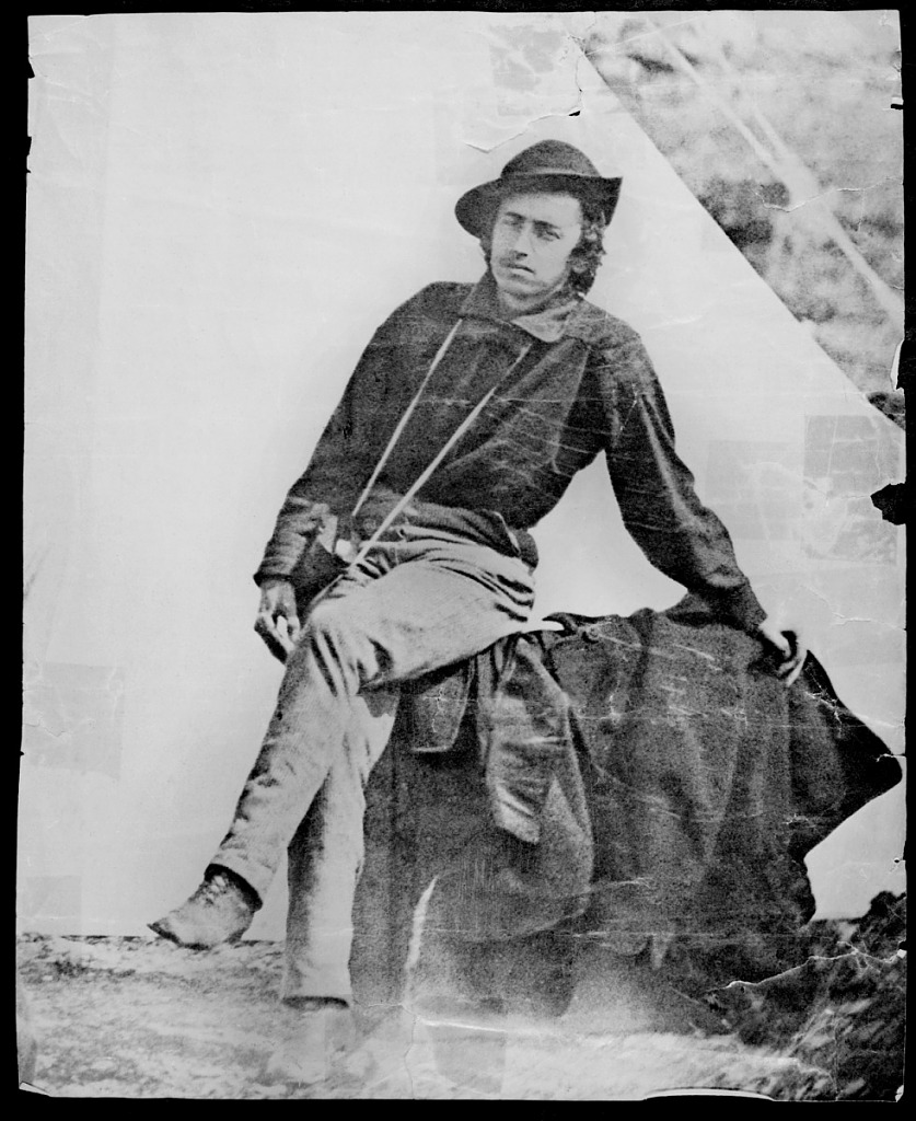Portrait of Caleb Burwell Rowan Kennerly shows him in expedition gear. He participated in the Pacific Railroad Survey in 1853-1854. Smithsonian Institution Archives, negative number 78-10093.