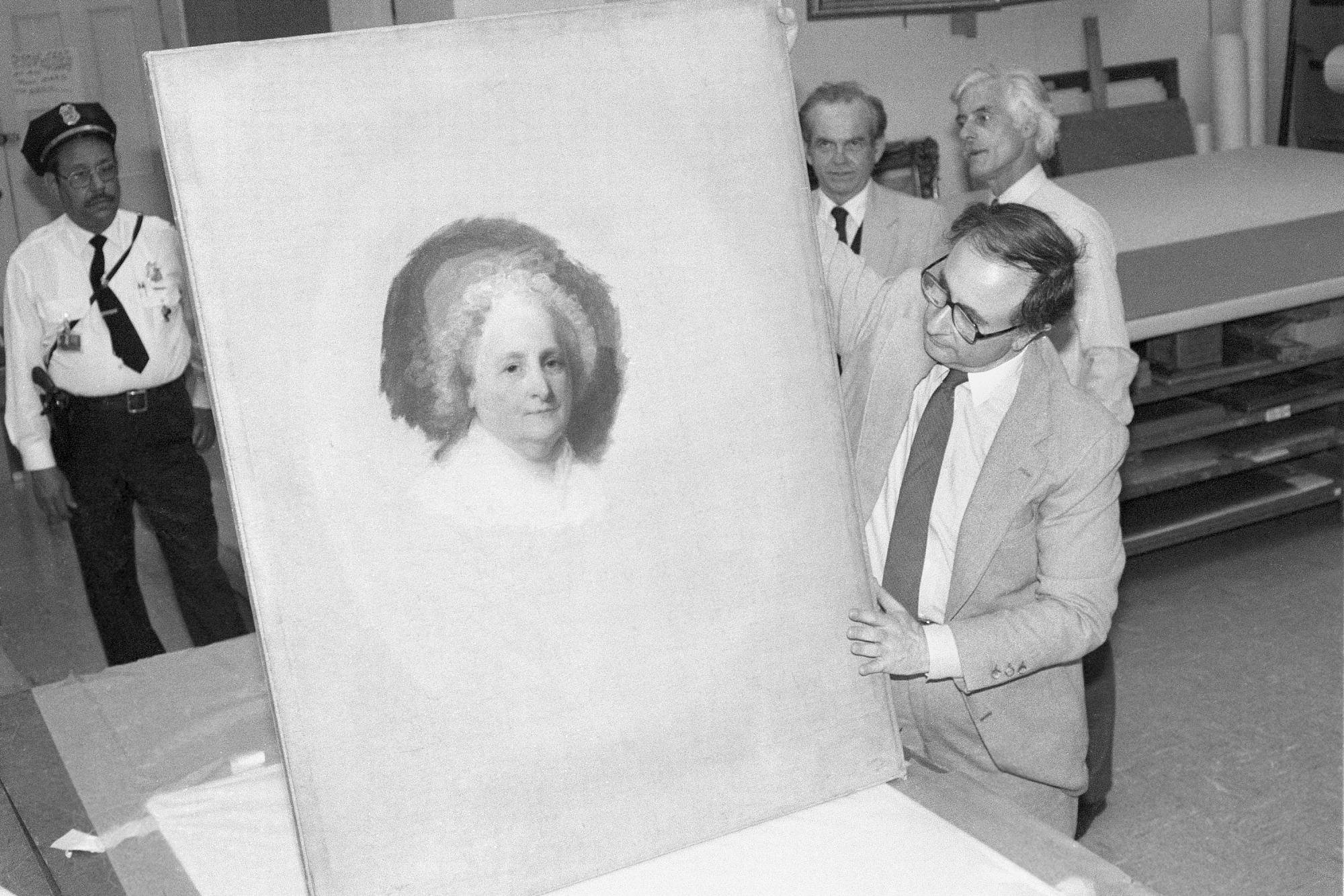 Marvin Sadik Examines Martha Washington Portrait