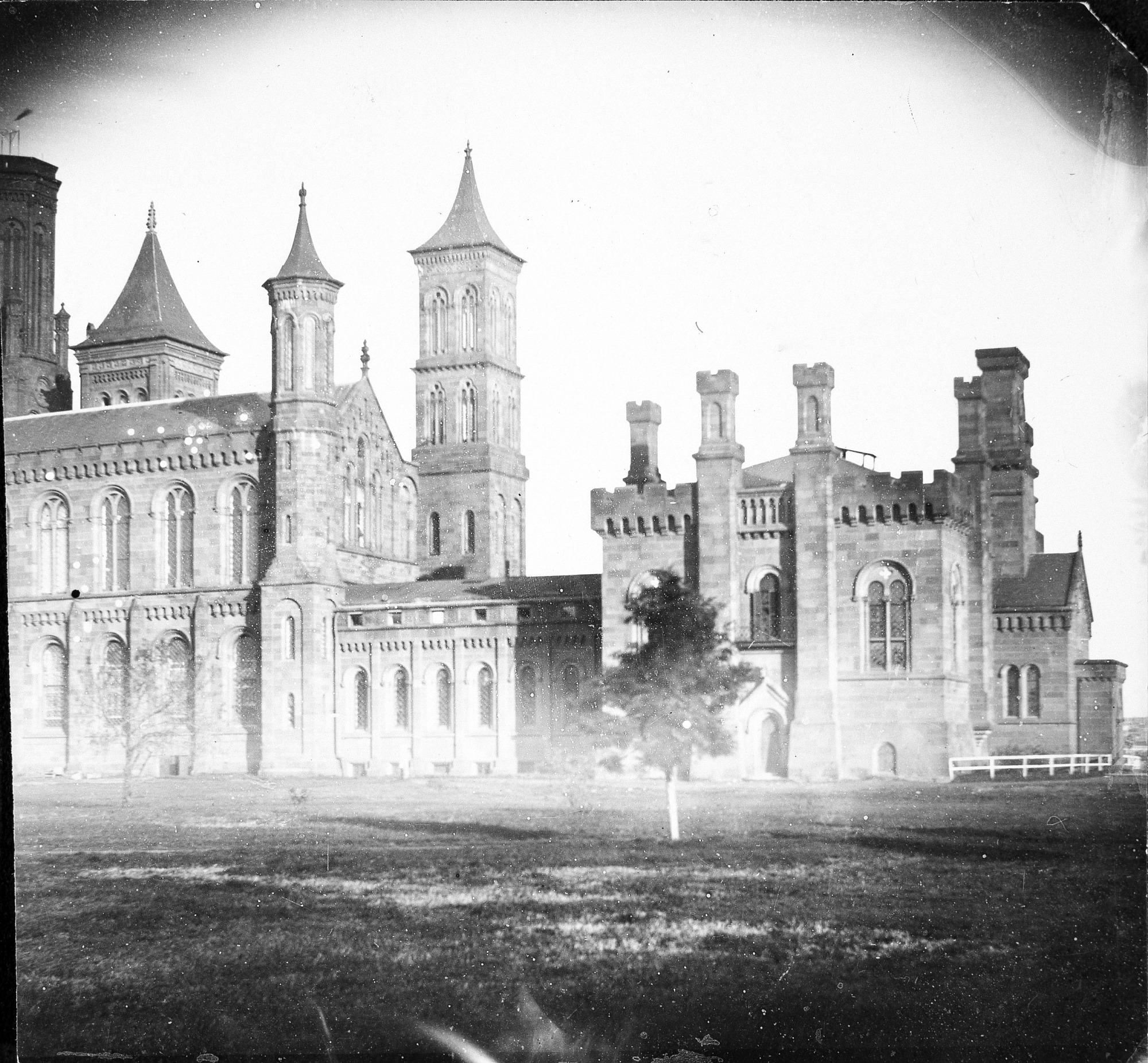 Photograph of east wing of Smithsonian Castle, early 1860s. Smithsonian Institution Archives, negative number 82-3288.