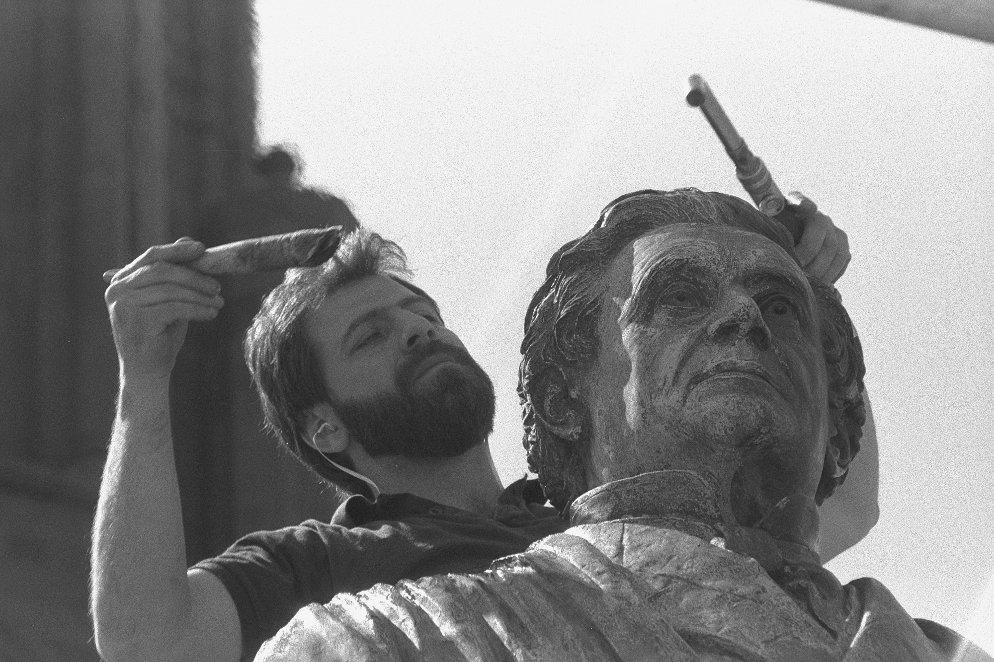 Steve Tatti Working on Joseph Henry Statue