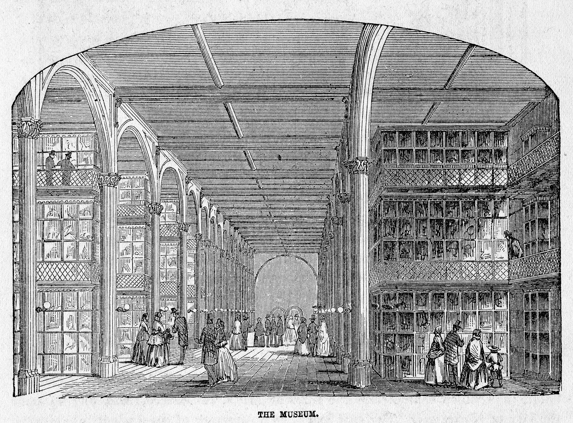 """Woodcut engraving of the Museum in the Great Hall of the Smithsonian Castle was first printed in the 1857 guidebook by William J. Rhees, """"An Account of the Smithsonian Institution."""" Smithsonian Institution Archives, negative number 75-12247."""