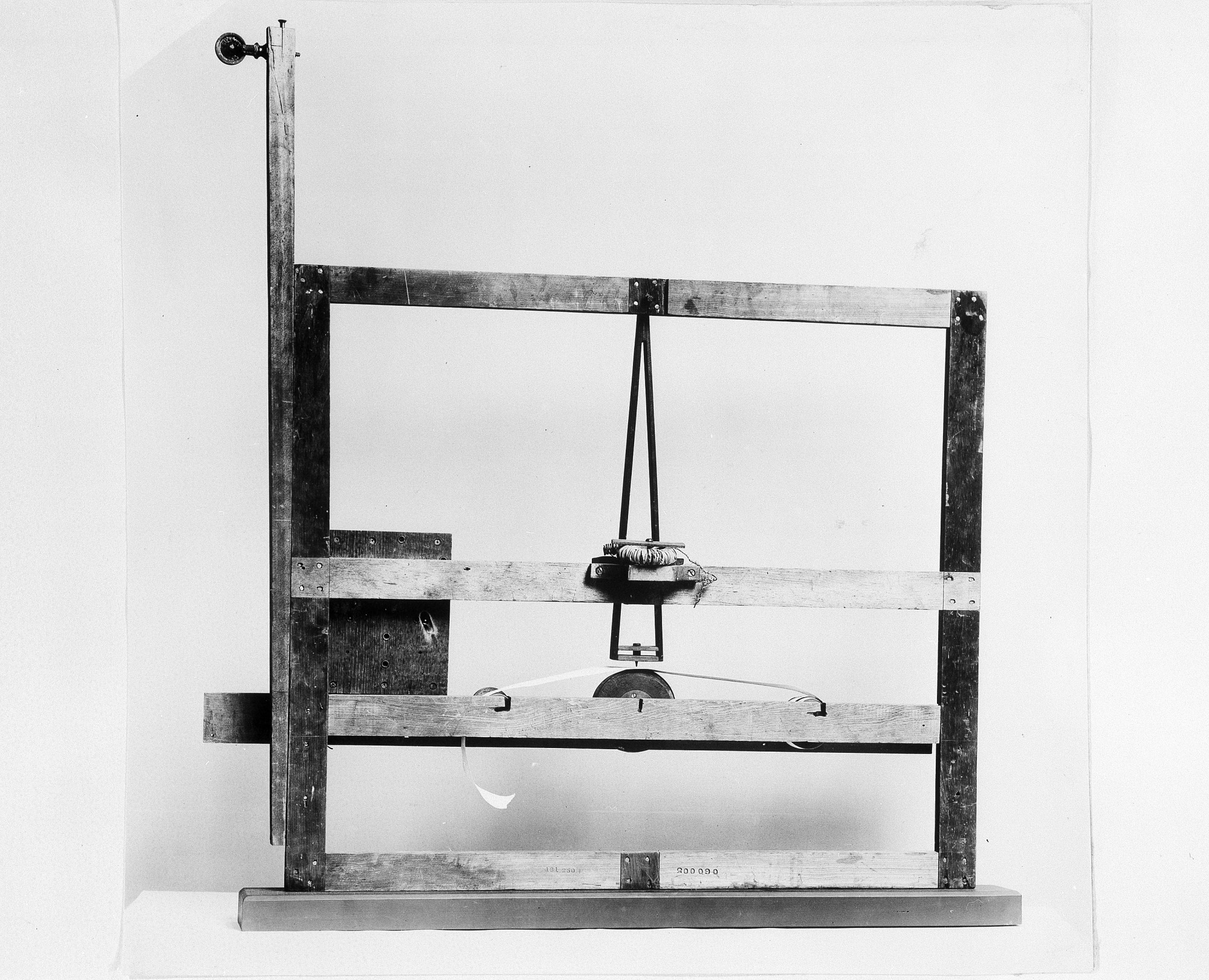 Image is of Samuel Morse's Experimental Telegraph from 1837. With this instrument Morse first demonstrated the receiving of electro-magnetic telegraphic messages. Smithsonian Institution Archives, negative number 91-3689.