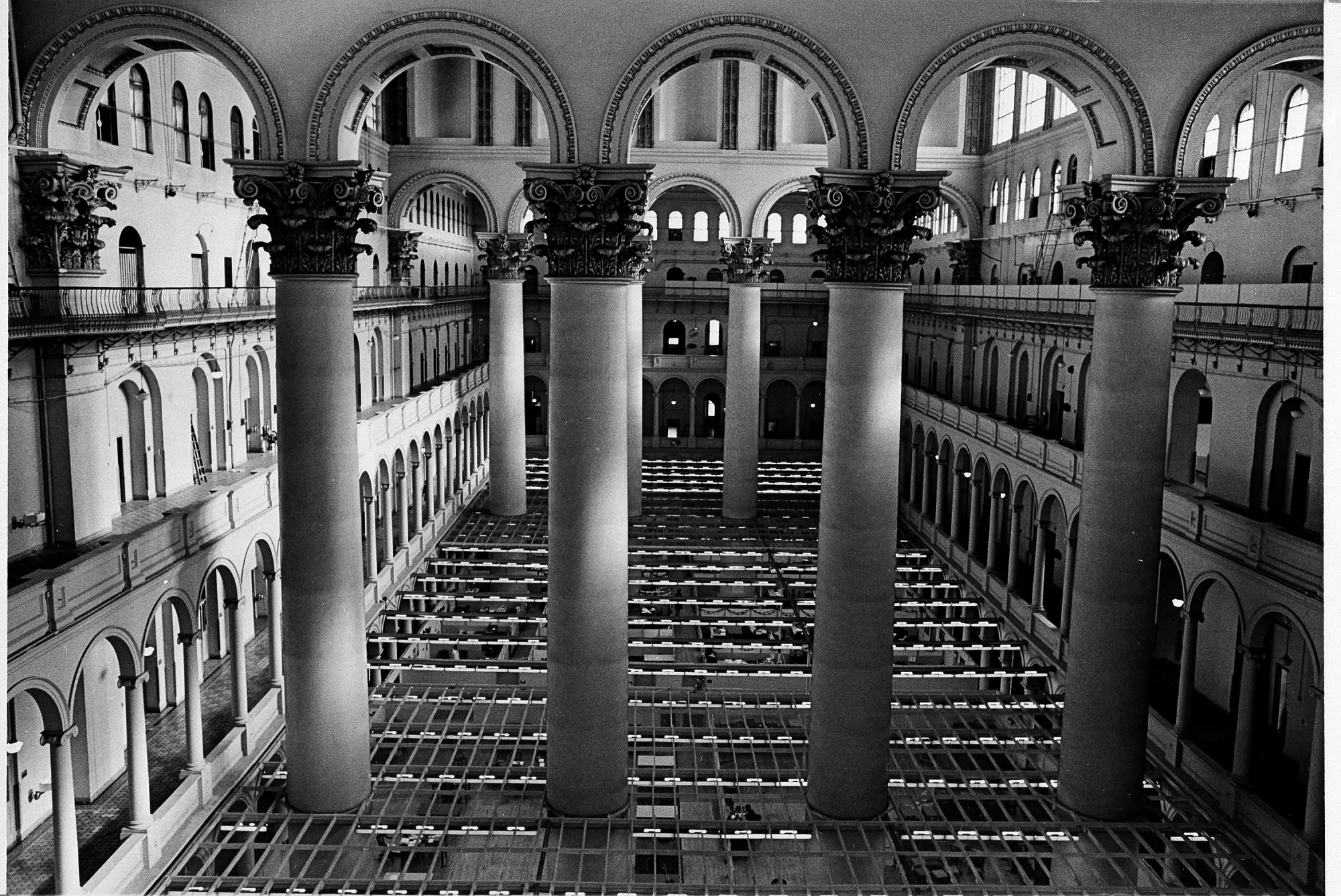 Columns of Pension Building, by Unknown, 1969, Smithsonian Archives - History Div, 92-1654.