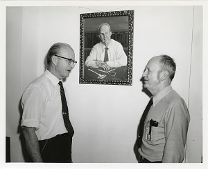 Image of T. Dale Stewart and J. Lawrence Angel with Painting