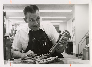 Image of Frank Pearce at Work in Vertebrate Fossil Preparation Laboratory