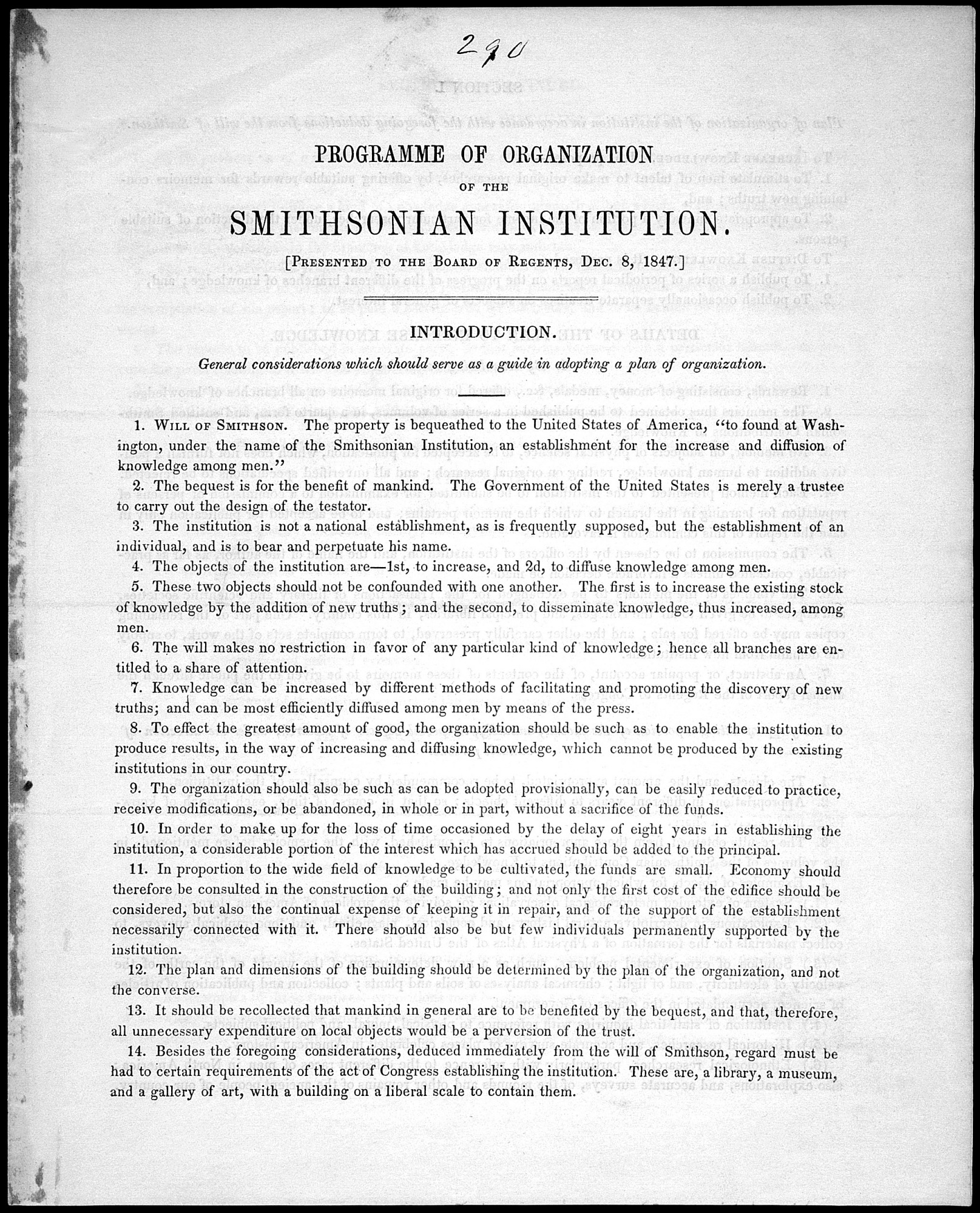 Image is of Henry's Programme of Organization, 1847, Smithsonian Institution Archives, negative number 96-1630.