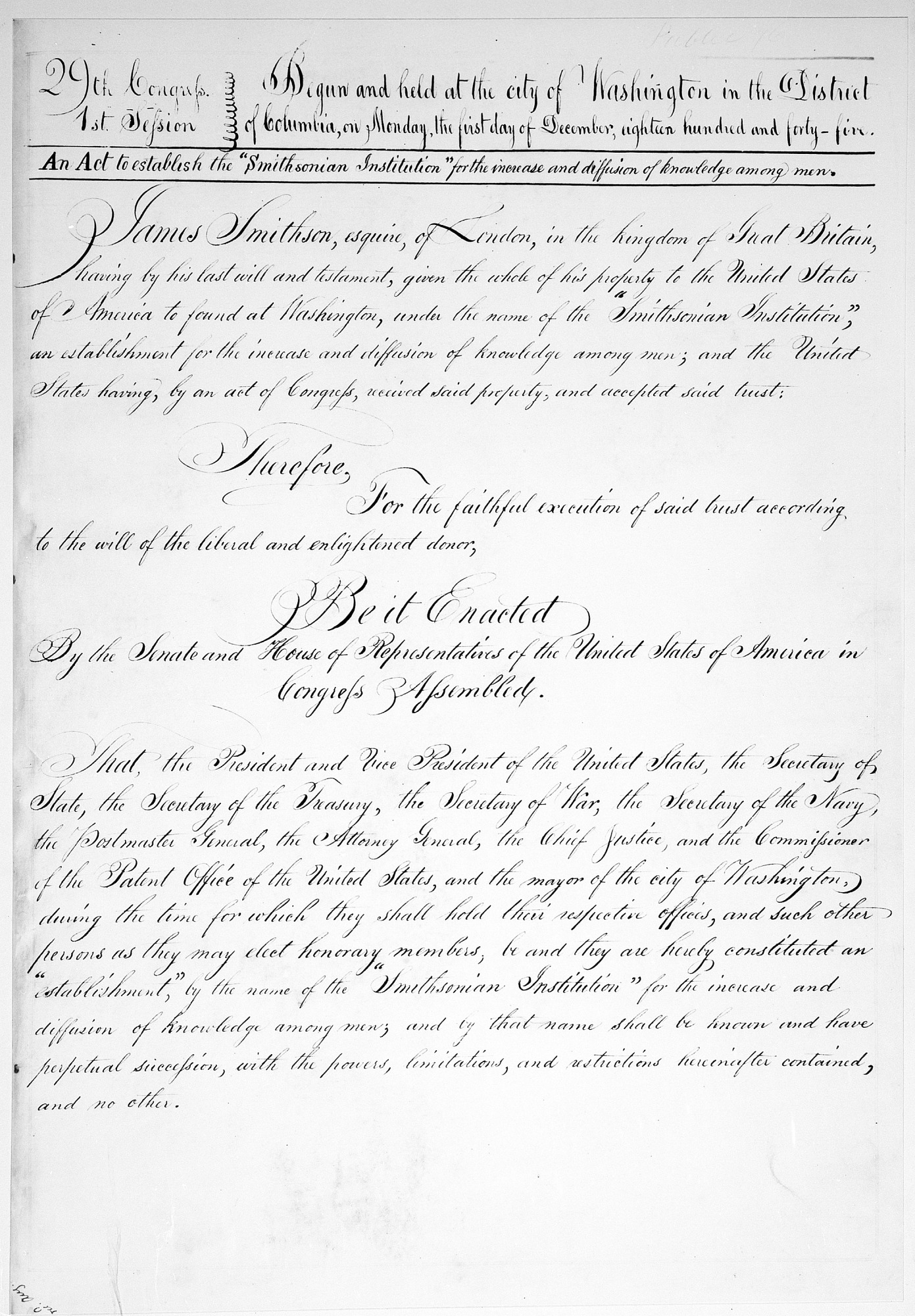 Image is of Act establishing the Smithsonian Institution, August 10, 1846, Smithsonian Institution Archives, negative number 96-1652.